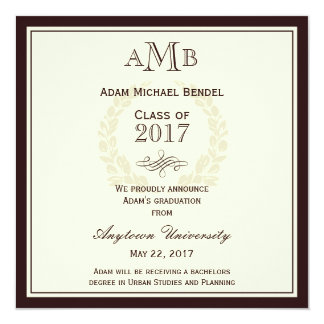 Brown Elegant Monogram Graduation Announcement