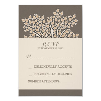 brown elegant old tree branches wedding RSVP cards