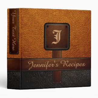 Brown Elegant Recipe Leather Look Binder