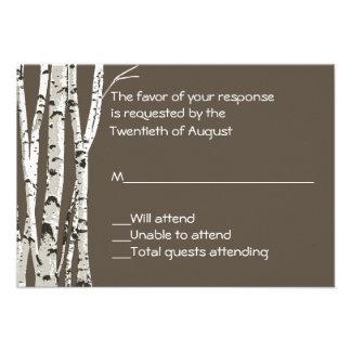 Brown elegante con los árboles de abedul que casa comunicados personalizados