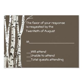 """Brown elegante con los árboles de abedul que casa invitación 3.5"""" x 5"""""""