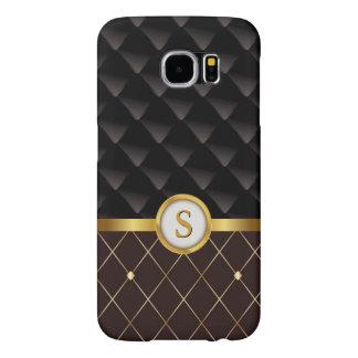 Brown elegante y diamantes negros con el monograma fundas samsung galaxy s6