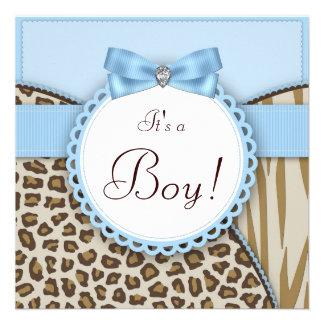 Brown elegante y ducha azul del bebé comunicados personales