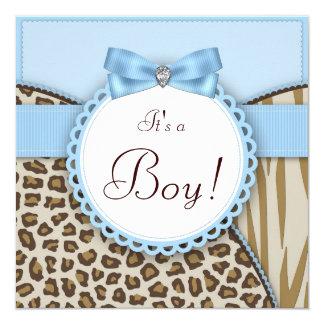 """Brown elegante y ducha azul del bebé invitación 5.25"""" x 5.25"""""""