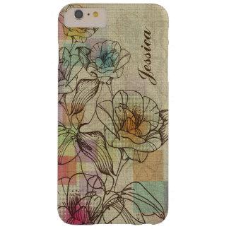 Brown elegante y flores rústicas dibujadas mano funda de iPhone 6 plus barely there