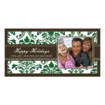 Brown elegante y personalizado verde del damasco b tarjeta fotografica personalizada