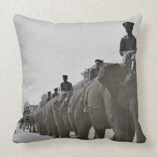 Brown Elephant Circus Parade March Square Throw Pillow
