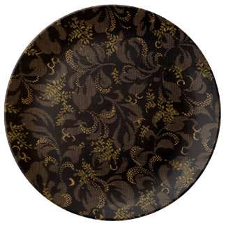 Brown Embroidery Look Porcelain Plate