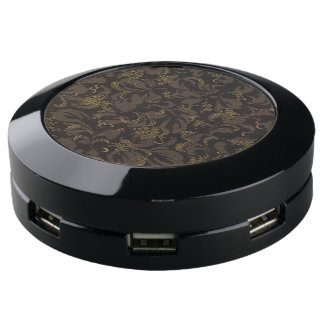 Brown Embroidery Look USB Charging Station