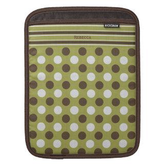 Brown enrrollado y el verde verde oliva modelan la mangas de iPad