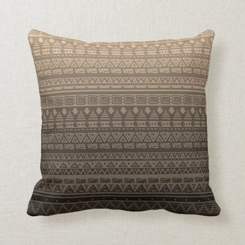 Brown ethnic ornament throw pillow