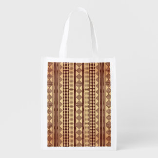 Brown ethnic texture grocery bag