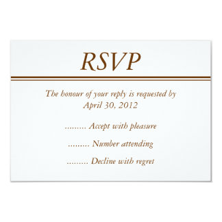 """Brown Event RSVP, Reply or Response Card 3.5"""" X 5"""" Invitation Card"""