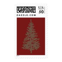 Brown Evergreen Tree Postage