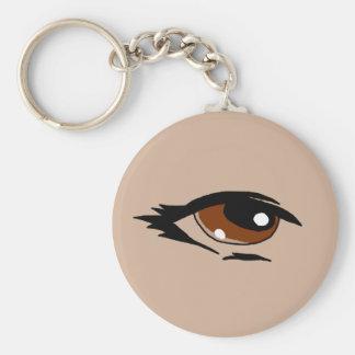 Brown eye design matching jewelry set basic round button keychain