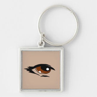 Brown eye design matching jewelry set Silver-Colored square keychain