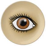 Brown Eye icon Porcelain Plates