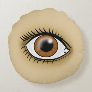 Brown Eye icon Round Pillow