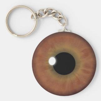 Brown Eye Iris Eyeball Cool Custom Round Key Chain