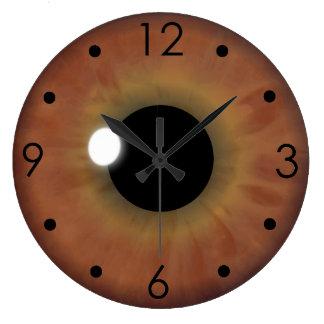 Brown Eye Iris Eyeball Custom Large Round Clock