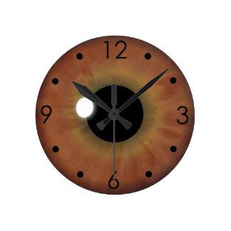 Brown Eye Iris Eyeball Custom Medium Round Clock