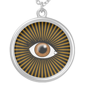 Brown Eye of Horus Silver Plated Necklace