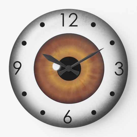 Brown Eyeball Iris Eye Custom Large Round Clock Zazzle