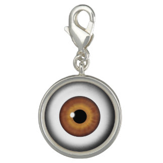 Brown Eyeball Iris Eye Fun Cool Round Charm