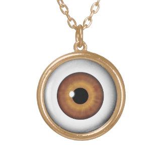 Brown Eyeball Iris Eye Fun Cool Round Necklace