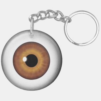 Brown Eyeball Round Double Sided Acrylic Keychain
