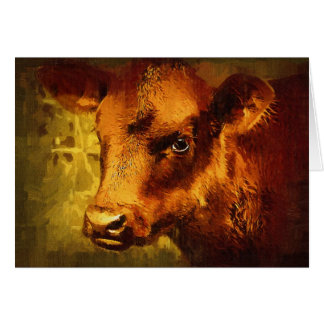 Brown Eyed Girl - Cow Oil Painting Card