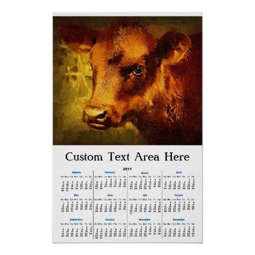 Brown Eyed Girl - Cow Oil Painting Print