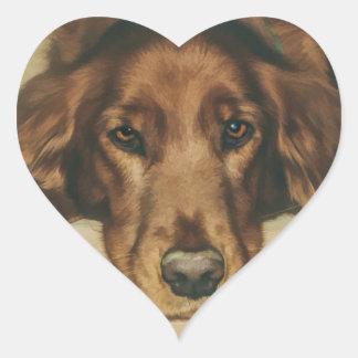 Brown Eyed Golden Irish Dog Heart Sticker