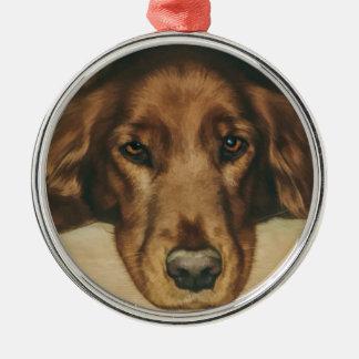 Brown Eyed Golden Irish Dog Metal Ornament