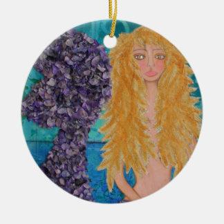 brown eyed mermaid.jpg ceramic ornament