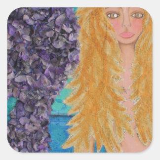 brown eyed mermaid.jpg square sticker