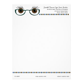 Brown Eyes and Glasses Custom Letterhead