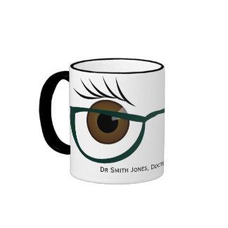 Brown Eyes and Glasses Ringer Coffee Mug