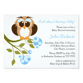 Brown Eyes Baby Owl Baby Shower Invitation