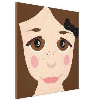 Brown Eyes & Hair Girl Face Cute Cartoon Pop Art Canvas Print