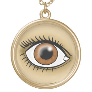 Brown Eyes icon Gold Plated Necklace