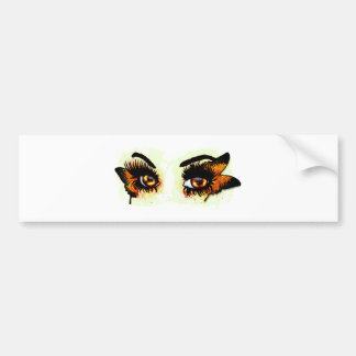 Brown eyes with butterfly bumper sticker