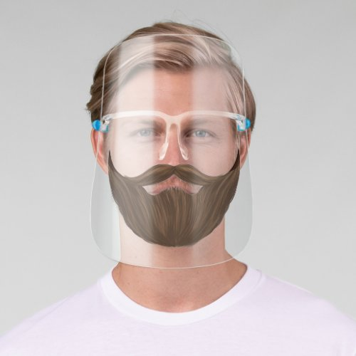Brown Facial Hair With Full Beard  Moustache Face Shield