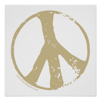 Brown Faded Grunge Style Peace Sign Print