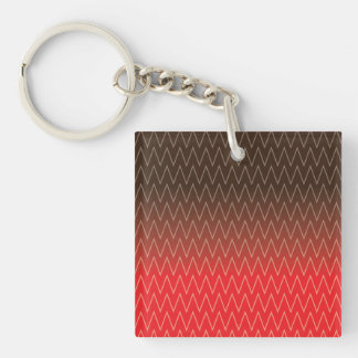 Brown Faded to Red Chevron Gradient Pattern Acrylic Keychains