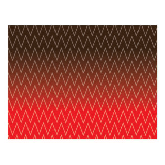 Brown Faded to Red Chevron Gradient Pattern Postcard