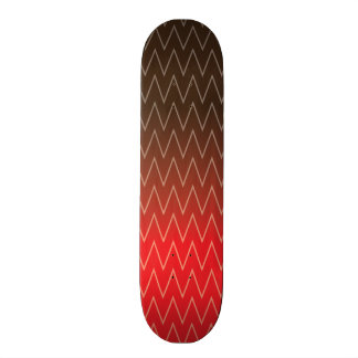 Brown Faded to Red Chevron Gradient Pattern Skate Deck