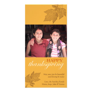 Brown fall leaves happy Thanksgiving golden yellow Custom Photo Card
