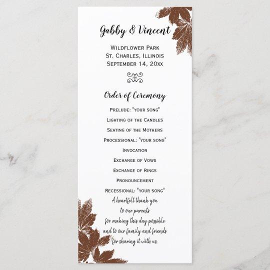 brown fall maple leaf stamp wedding program zazzle com