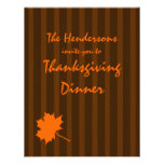 Brown Fall Stripes Thanksgiving Dinner Invite 1